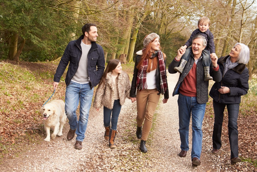 Family Walking Dog Through Woods in the Fall