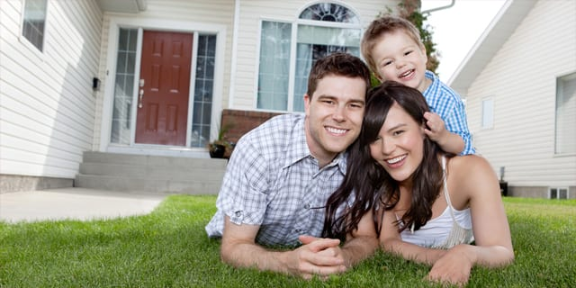 Family on pest free lawn